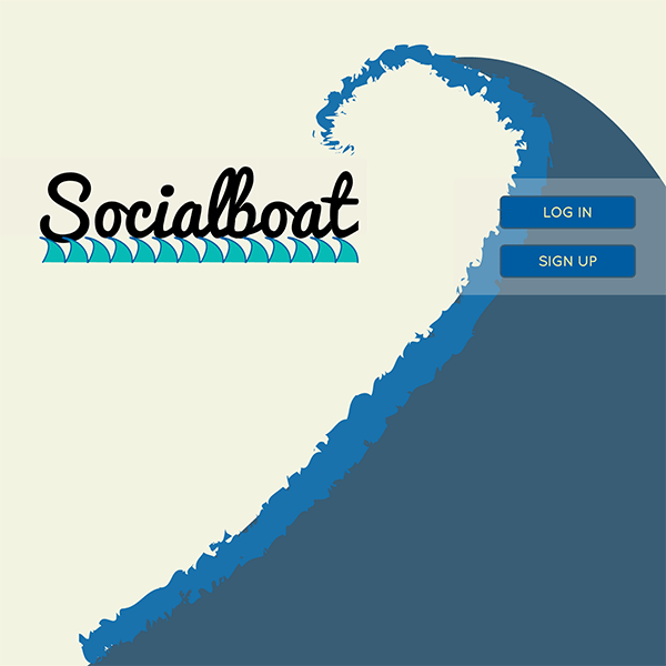 Socialboat's landing page with a logo and a wave background.